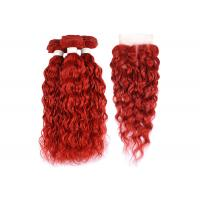 Buy cheap Water Wave Texture Curly Human Hair Bundles Brazilian Hair Red Color from wholesalers