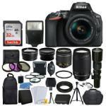 Buy cheap Cheap Nikon D5600 DSLR Camera w/ 18-55mm VR + 70-300mm VR + 500mm +32GB from wholesalers