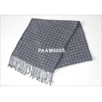 Buy cheap Grey And Black Striped Winter Woven Silk Scarf For Women / Men from wholesalers