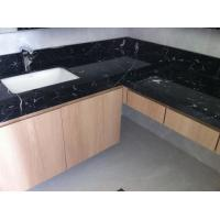 Buy cheap Nero Marquan Rectangle Sink Marble Slab Countertop For Kitchen Eased Edge from wholesalers