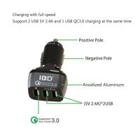 Buy cheap 54W,7.8A Quick chage 3- ports phone charger usb power QC2.0 dual car charger + QC3.0 fast charger from wholesalers