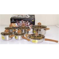 Buy cheap Cooking Stainless Steel Cookware / Pot Sets 12 PCS with Tawny Glass Lid from wholesalers