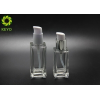 Buy cheap Foundation Serum Cosmetic 30ml 50ml Clear Square Glass Bottle With Self-Lock Pump from wholesalers