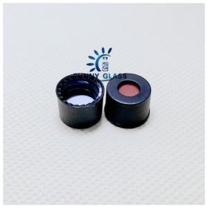 SC8 PTFE/Silicone septa, black screw polypropylene cap, 5.5mm centre hole/ use for 8-425 hplc vial