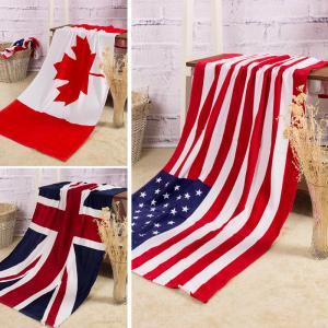 Towel Wholesale pure cotton Bath towel Beach Canadian flag   American flag British flag