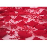 Buy cheap Red Embroidery Wedding Lace Fabric 3d Flower 50-51 Width For Home Textile from wholesalers