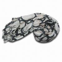 Buy cheap Rayon Scarf, Customized Specifications are Accepted, Measures 67 x 178 + 10 x 2cm product