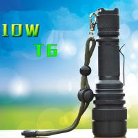 High Power 10W CREE T6 1000 Lms Flexible Zoom LED Flashlight with 5 Files Taking 18650 Manufactures