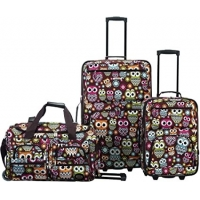 Buy cheap Softside 3-Piece Upright Luggage Set, Pink Giraffe from wholesalers