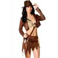 Buy cheap Hero Costumes Wholesale Micro Suede and Velvet Brown Indiana Jane Costume with size S to XXL from wholesalers