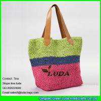 Buy cheap LUDA striped ladies fashion crocheted paper straw tote bag from wholesalers