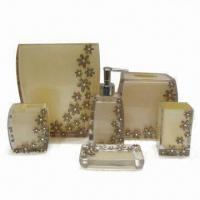 Buy cheap Beautiful Flower Polyresin Bathroom Set with Transparent Beige Body, Includes Waste Basket from wholesalers