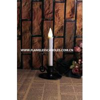 China Electric Flameless Taper White LED Candles with Pewter Finish Candlesticks and Holder on sale