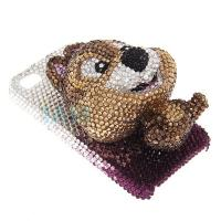 Buy cheap Brown 3D cute bear diamond custom apple iphone 4 hard case  eco - friendly for girl from wholesalers
