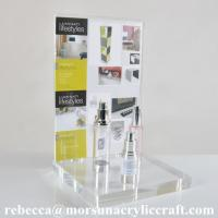 Buy cheap Counter top transparent acrylic cosmetic display stand with post holder from wholesalers