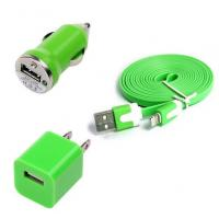 Buy cheap USB Home AC Wall charger+Car Charger+8 Pin Sync USB Cord for iPhone 5 5S 5C 5G Green from wholesalers