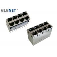 Buy cheap Eight Ports RJ45 Jack Connector 1.27mm Terminal Pitch With Light Pipes And EMI Springs product