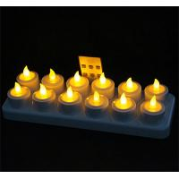 Buy cheap Remote Ready Amber Yellow Light Flickering Rechargeable LED Tealight Candle Set of 12 with Candle Container for Promotio from wholesalers