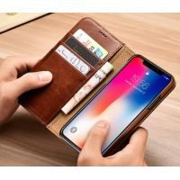 Buy cheap Brown Genuine Leather Phone Case with Card Holder Slots Kickstand Cash Pockets from wholesalers