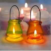 Buy cheap Glass hurricane lamp hanging glass candle jar glass container for wax , tealight, votive from wholesalers