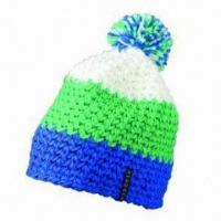 Buy cheap Crocheted Cap with Pompon and 100% Acrylic Outer Fabric from wholesalers