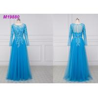 Buy cheap See Through Royal Blue Mother Of The Bride Dresses With Sleeves , Lace Mother Of The Bride Suits from wholesalers