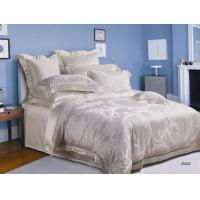 Silk Jacquard White Luxury Bed Sets , Durable And Full Size Bedding Sets Manufactures