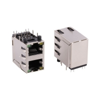 Buy cheap Dual Port RJ45 8P8C Female Right Angle Dip Connector With Shield from wholesalers