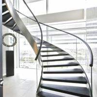 Quality Custom Indoor stairs curved solid red oak wood stair railing/marble stone stair for sale