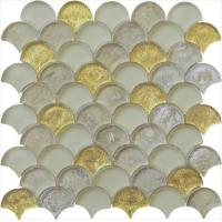 Gold leaf with silver color series water waving glass mosaic Manufactures