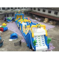 Buy cheap Cheerful blue and yellow giant Inflatable Obstacle Course Rental with basketball shooting from wholesalers