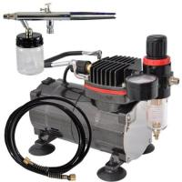 Buy cheap Professional Airbrush Tattoo Kit Machine with Single Cylinder Piston Air Compressor 1/6HP from wholesalers