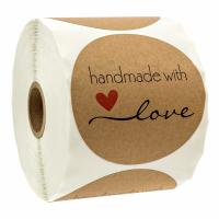 Buy cheap Natural Kraft Handmade Round Stickers 500 Labels Per Roll CE / SGS Certified from wholesalers
