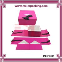 Buy cheap Professional low price sturdy Paper pink color CMYK printing baby gift box With Ribbon from wholesalers