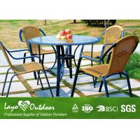 ISO9001 Garden Patio Sets With Round Tempered Glass Table / 3mm Wicker Chair Manufactures
