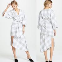 Buy cheap Fall Clothing Plus Size Gingham Kimono Style Wrap Dress For Women from wholesalers