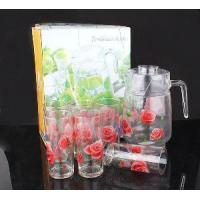 Buy cheap Rose Flower Printed Glass Drink Set from wholesalers