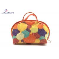 Buy cheap Fashion Lady Handbag Fabric Makeup Bag Orange Leather Handle Size 21X14X16cm from wholesalers