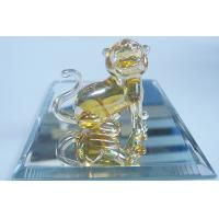 Buy cheap Artists Transparent Glass Tiger , Handmade Glass Animals For Birthday Gift from wholesalers