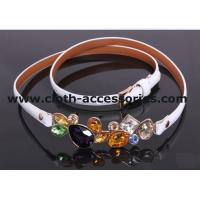 Buy cheap 90CM × 2CM White Rhinestone Cloth Belts Diamond shape with OEM / ODM Accepted from wholesalers