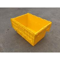 Wholesale Yellow Plastic Storage Bins Attached Lids Stacked For Transportation from china suppliers