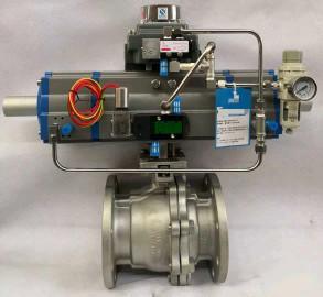 China 3 Way Pneumatic Ball valve,Three Stage Actuator Valve on sale