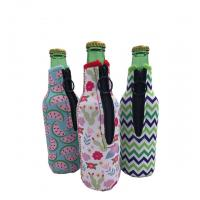 Wholesale Sublimation Printing Neoprene Single Beer Bottle Cooler with zipper for Promotion Gift size is 19cm*6.3cm, SBR material. from china suppliers