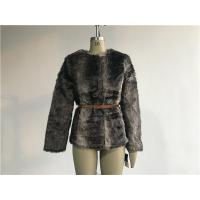 Wholesale Brown Multi Textured Ladies Fake Fur Coats Collarless With Pu Belt TW74140 from china suppliers