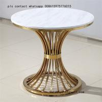 Buy cheap Metal plated stainless steel marble table simple coffee round table from wholesalers