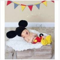 Buy cheap Black Yellow Mickey Mouse Baby Costume Crochet Beanie Shorts Shoes Animal Hat Cap Photo from wholesalers