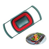 Buy cheap Pot Use Eco-friendly Clip on Snap Water Collapsible Silicone Rubber Pasta Microwave Kitchenware Set Foldable Colander Strainer from wholesalers