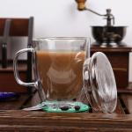 Buy cheap High quality crystal double wall glass cup/coffee glass mug,Borosolicate 330ml handblown tea and coffee glass from wholesalers