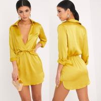 Buy cheap Women Long Sleeve Dark Lime Twist Front Silky Shirt Dress With Deep V Neck from wholesalers