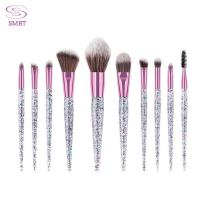 Buy cheap Crystal Handle Makeup Brushes 10 PCS Glitter Makeup Brushes Pink Hair blending Brush Cosmetic Brush Set from wholesalers